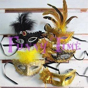 bolsa cotillon con mascara con plumas